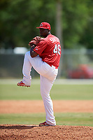 St. Louis Cardinals Ramon Santos (46) during a minor league Spring Training game against the New York Mets on March 28, 2017 at the Roger Dean Stadium Complex in Jupiter, Florida.  (Mike Janes/Four Seam Images)