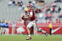 Arkansas quarterback Feleipe Franks (13) looks to pass, Saturday, October 17, 2020 during the second quarter of a football game at Donald W. Reynolds Razorback Stadium in Fayetteville. Check out nwaonline.com/201018Daily/ for today's photo gallery. <br /> (NWA Democrat-Gazette/Charlie Kaijo)