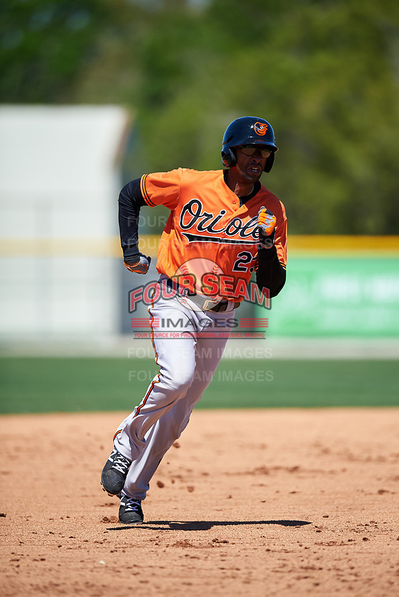 Baltimore Orioles designated hitter Henry Urrutia (23) runs the bases during a minor league Spring Training game against the Boston Red Sox on March 16, 2017 at the Buck O'Neil Baseball Complex in Sarasota, Florida.  (Mike Janes/Four Seam Images)