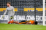 Hull City's Mallik Wilks lies in the goal after missing a flick on at the far post. Hull 2 Sunderland 2, League One 20th April 2021.