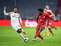 3rd January 2021, Allianz Arean, Munich Germany; Bundesliga Football, Bayern Munich versus FSV Mainz; Jean-Paul Boetius (FSV Mainz 05) too late to stop the cross from Alphonso Davies (Bayern Munich)