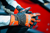 Oct 11, 2019; Concord, NC, USA; Detailed view of the leather riding gloves worn by NHRA pro stock motorcycle rider Steve Johnson during qualifying for the Carolina Nationals at zMax Dragway. Mandatory Credit: Mark J. Rebilas-USA TODAY Sports