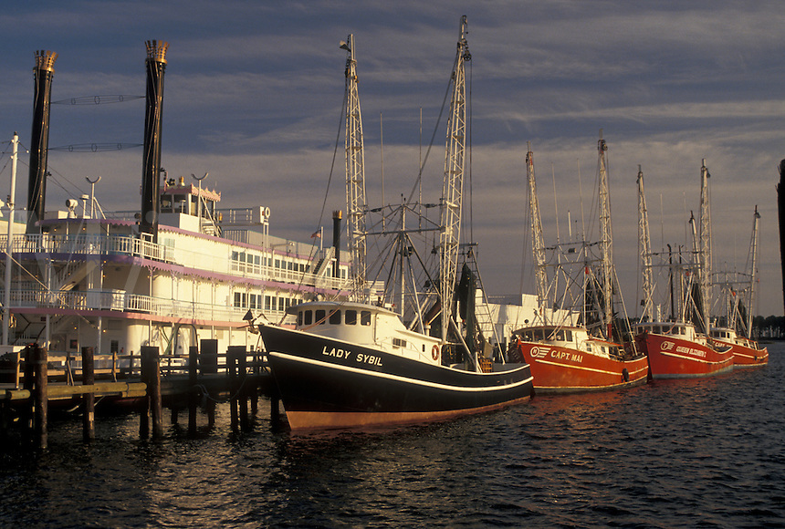 shrimp boat, riverboat, Mississippi, MS, Biloxi, Shrimp boats and riverboat docked in the harbor of the Gulf of Mexico in Biloxi.