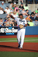 Eudy Ramos (28) of the Hillsboro Hops throws to first base during a game against the Spokane Indians at Ron Tonkin Field on July 22, 2017 in Hillsboro, Oregon. Spokane defeated Hillsboro, 11-4. (Larry Goren/Four Seam Images)