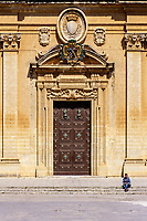 Mdina, Malta. Cathedral of Saint Paul, Built 1702.  Main Doorway.  The cathedral is said to sit on the site of the house of the head man of Mdina, who was visited by St. Paul.