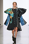 Model walks runway in an outfit by Ray Liu, for the 2017 Pratt fashion show on May 4, 2017 at Spring Studios in New York City.