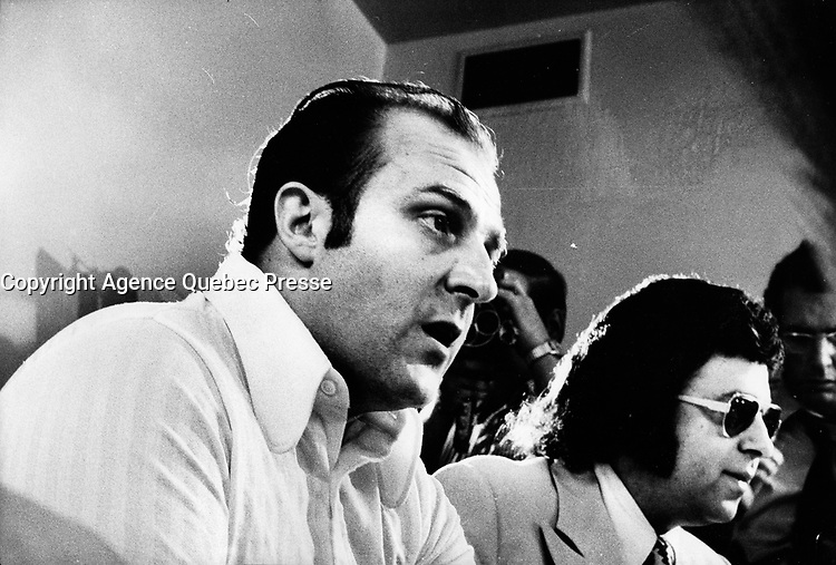 FILE PHOTO -  Criminal lawyer Frank Shoofey (R)  in the seventies (exact date unknown).<br /> <br /> In a still-unsolved murder, he was shot to death while working late at his Montreal law office, October 15,1985<br /> <br /> PHOTO : Alain Renaud - Agence Quebec Presse