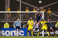 25 OCTOBER 2009:  Matt Reis of the New England Revolution (1), Emmanuel Ekpo of the Columbus Crew (17), Darrius Barnes of the New England Revolution (24), Andy Iro of the Columbus Crew (7) and Shalrie Joseph of the New England Revolution (21) during the New England Revolution at Columbus Crew MLS game in Columbus, Ohio on October 25, 2009.