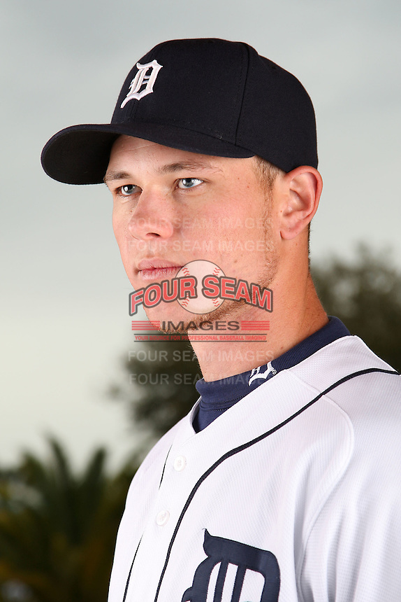 February 27, 2010:  Pitcher Ryan Perry (45) of the Detroit Tigers poses for a photo during media day at Joker Marchant Stadium in Lakeland, FL.  Photo By Mike Janes/Four Seam Images