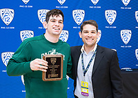 STANFORD, CA - March 7, 2020: Thomas Lane of Cal Poly is presented with the Most Falls Award during the 2020 Pac-12 Wrestling Championships at Maples Pavilion.
