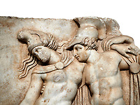 Roman Sebasteion relief sculpture of Achilles and a dying Amazon, Aphrodisias Museum, Aphrodisias, Turkey.       Against a white background.<br /> <br /> Achilles supports the dying Amazon queen Penthesilea whom he has mortally wounded. Her double headed axe slips from her hands. The queen had come to fight against the Greeks in the Trojan war and Achilles fell in love with her.