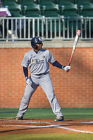 Leon Byrd (1) of the Rice Owls at bat against the Charlotte 49ers at Hayes Stadium on March 6, 2015 in Charlotte, North Carolina.  The Owls defeated the 49ers 4-2.  (Brian Westerholt/Four Seam Images)