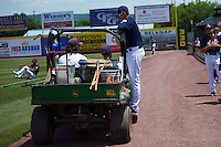Binghamton Mets pitcher Beck Wheeler (17) hitches a ride to the bullpen before a game against the Richmond Flying Squirrels on June 26, 2016 at NYSEG Stadium in Binghamton, New York.  Binghamton defeated Richmond 7-2.  (Mike Janes/Four Seam Images)