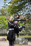 NAGOYA, JAPAN - APRIL 23: The first american professional ninja in Japan greets the press on Saturday April 23, 2016, in the grounds of Nagoya Castle, Aichi prefecture, Japan. Chris O'Neill is a 29 years old American martial artist who was selected to become the first full-time non-Japanese ninja professional in Japan by Aichi prefecture. O'Neill will work with 6 Japanese colleagues performing ninja skills and promoting the region to tourists. ( Photo by Richard Atrero de Guzman/AFLO)
