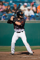 San Jose Giants catcher Matt Winn (10) at bat during a California League game against the Lancaster JetHawks at San Jose Municipal Stadium on May 12, 2018 in San Jose, California. Lancaster defeated San Jose 7-6. (Zachary Lucy/Four Seam Images)