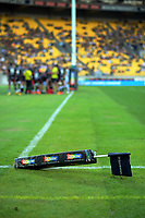 An unwell corner flag during the Super Rugby match between the Hurricanes and Sharks at Sky Stadium in Wellington, New Zealand on Saturday, 15 February 2020. Photo: Dave Lintott / lintottphoto.co.nz