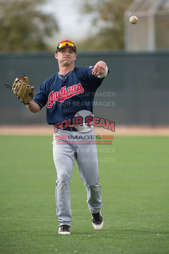Cleveland Indians right fielder Clark Scolamiero (15) during a Minor League Spring Training game against the Chicago White Sox at Camelback Ranch on March 16, 2018 in Glendale, Arizona. (Zachary Lucy/Four Seam Images)
