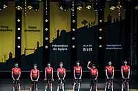 Nairo Quintana (COL) and his Team Arkéa Samsic at the pre Tour teams presentation of the 108th Tour de France 2021 in Brest at le Grand Départ.
