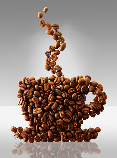 Coffee beans in the shape of a coffee cup. Stock Photo