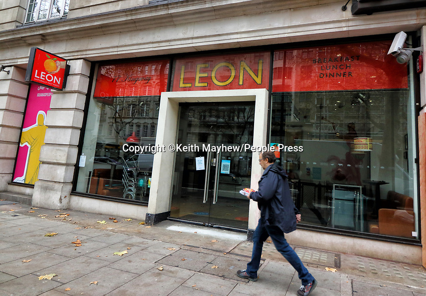 Exterior of a Leon restaurant. Due to the ongoing loss of revenues due to the Covid-19 pandemic lockdown, the business is planning a company voluntary arrangement (CVA) to seek permanent rent cuts from landlords toallow it to continue trading.25th November 2020<br /> <br /> Photo by Keith Mayhew