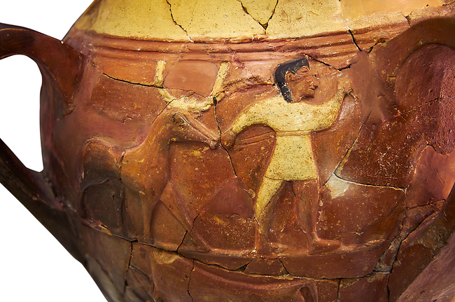 Hüseyindede vases, Old Hittite Polychrome Relief vessel, third freeze down depicting a man leading a bull, 16th century BC. Huseyindede . Çorum Archaeological Museum, Corum, Turkey. Against a white bacground.