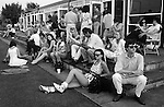 1980s fashionable wealthy smart people at Guards Polo Club.Windsor Great Park Egham Surrey.