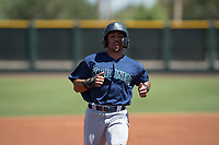 Seattle Mariners outfielder Jorge Solano (93) jogs towards third base during an Extended Spring Training game against the San Francisco Giants Orange at the San Francisco Giants Training Complex on May 28, 2018 in Scottsdale, Arizona. (Zachary Lucy/Four Seam Images)