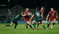 14th November 2020; Galway Sportsgrounds, Galway, Connacht, Ireland; Guinness Pro 14 Rugby, Connacht versus Scarlets; Ryan Conbeer (Scarlets) holds off challenges from Kieran Marmion and Jack Carty (Connacht)