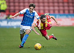 Partick Thistle v St Johnstone…28.10.17…  Firhill…  SPFL<br />Aaron Comrie fends off Ryan Edwards<br />Picture by Graeme Hart. <br />Copyright Perthshire Picture Agency<br />Tel: 01738 623350  Mobile: 07990 594431