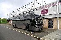 10th October 2020; Sixfields Stadium, Northampton, East Midlands, England; English Football League One, Northampton Town versus Peterborough United; Coach driver cleans the Peterborough United coach.