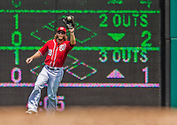 28 July 2013: Washington Nationals outfielder Jayson Werth pulls in a fly to right during a game against the New York Mets at Nationals Park in Washington, DC. The Nationals defeated the Mets 14-1. Mandatory Credit: Ed Wolfstein Photo *** RAW (NEF) Image File Available ***