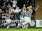 St Mirren v St Johnstone...19.10.13      SPFL<br /> Kenny McLean celebrates his penalty, St Mirren's third goal<br /> Picture by Graeme Hart.<br /> Copyright Perthshire Picture Agency<br /> Tel: 01738 623350  Mobile: 07990 594431