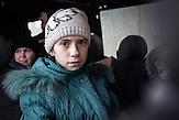 """Dascha, Schülerin, Kramatorsk, 11 Jahre: """"Ich wurde mit meiner Familie wegen der Raketen hierher nach Kramatorsk gebracht, aber heute fahren wir nach Lwiw. Ich hoffe, dass ich dort schnell neue Freunde finde und wieder zur Schule gehen kann."""""""