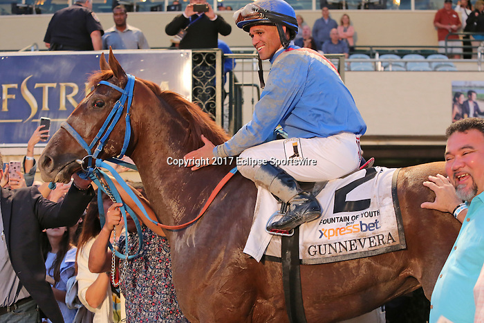 HALLANDALE BEACH, FL - MARCH 04:  Gunners #2 With jockey Javier Castellano in the winners circle after winning the $400,000 Xpressbet Fountain Of Youth Stakes (Grade II) at Gulfstream Park on March 04, 2017 in Hallandale Beach, Florida. (Photo by Liz Lamont/Eclipse Sportswire/Getty Images)