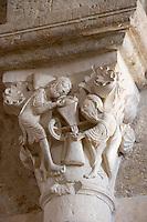 Europe/France/Bourgogne/89/Yonne/Env de Vèzelay: Basilique Sainte-Madeleine détail des chapiteaux de la nef