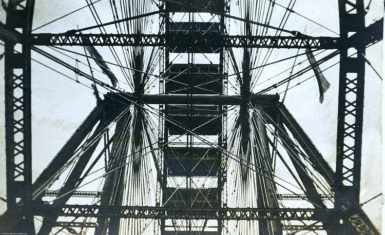St Louis MO:  A view of the inter-workings of the famous Ferris Wheel at the St Louis World's Fair.  Brady Stewart spent lots of time on the Ferris Wheel taking photographs of the exposition.