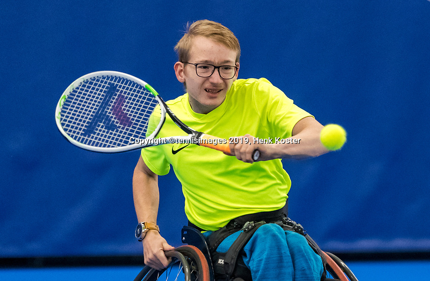 Amstelveen, Netherlands, 8  December, 2020, National Tennis Center, NTC, NKR, National  Indoor Wheelchair Tennis Championships, Men's junior  Ivar van Rijt	<br /> Xavier Donkersingle: <br /> Photo: Henk Koster/tennisimages.com