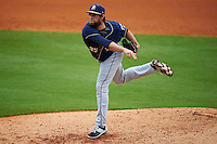 San Antonio Missions pitcher Aaron Northcraft (33) follows through on a pitch during a game against the NW Arkansas Naturals on May 31, 2015 at Arvest Ballpark in Springdale, Arkansas.  NW Arkansas defeated San Antonio 3-1.  (Mike Janes/Four Seam Images)