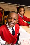Parochial School Bronx New York  Kindergarten portrait of boy and girl smiling happy vertical