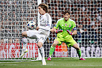 Real Madrid´s Modric and Iker Casillas during Champions League soccer match at Santiago Bernabeu stadium in Madrid, Spain. March, 10, 2015. (ALTERPHOTOS/Caro Marin)