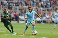 ST PAUL, MN - JULY 24: Hassani Dotson #31 of Minnesota United FC with the ball during a game between Portland Timbers and Minnesota United FC at Allianz Field on July 24, 2021 in St Paul, Minnesota.
