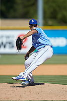 Burlington Royals relief pitcher Kyle Hinton (24) in action against the Greeneville Reds at Burlington Athletic Stadium on July 8, 2018 in Burlington, North Carolina. The Royals defeated the Reds 4-2.  (Brian Westerholt/Four Seam Images)