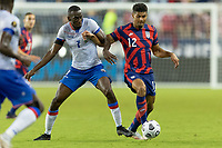 KANSAS CITY, KS - JULY 11: Miles Robinson #12 of the United States during a game between Haiti and USMNT at Children's Mercy Park on July 11, 2021 in Kansas City, Kansas.