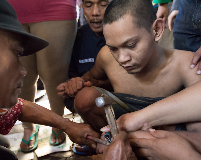 """5 April 2017, Surabaya,East Java,Indonesia: Febrianto, a 24 year old mental illness sufferer is released from the chains he has been shackled to a stake for the past two years in a goat shed next to his family in Pehwetan village, East Java. His mother Barokah, looks on as Indonesian Social Affairs Dept. rescuers cut the bonds and wash his emaciated body and apply first aid before putting him in a straight jacket and taking him to a facility in Malang for treatment. Febrianto is a patient in a program called """"E- Shackling"""" which aims to free people suffering from mental illness, from the shackles that family often place them in to control them in the wake of a lack of treatment options and which will treat them and enter them in a data base allowing them to be traced before releasing them back to their families. Some people stay chained to a stake or in rooms for years by their families and not all families are willing to take their sick family members back. Picture by Graham Crouch/The Australian"""
