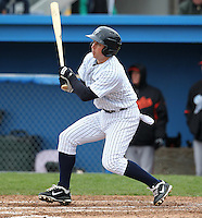 Empire State Yankees outfielder Colin Curtis #9 during a game against the Norfolk Tides at Dwyer Stadium on April 22, 2012 in Batavia, New York.  Empire State defeated Norfolk 6-5, the Yankees are playing all their games on the road this season as their stadium gets renovated.  (Mike Janes/Four Seam Images)