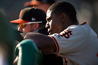 San Jose Giants first baseman Frandy De La Rosa (43) during a California League game against the Modesto Nuts at John Thurman Field on May 9, 2018 in Modesto, California. San Jose defeated Modesto 9-5. (Zachary Lucy/Four Seam Images)
