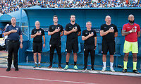 San Pedro Sula, Honduras. - Tuesday September 05, 2017: USMNT bench Bruce Arena, Dave Sarachan, Pat Noonan, Kenny Arena, Richie Williams, Matt Reis, Tim Howard during a 2017 FIFA World Cup Qualifying (WCQ) round match between the men's national teams of the United States (USA) and Honduras (HON) at Estadio Olímpico Metropolitano.