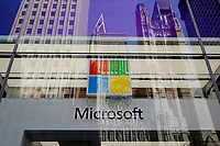 NEW YORK, NEW YORK - MARCH 10: View of a Microsoft store on March 10, 2021, in New York. The Nasdaq Composite continued falling more than half a percent during the day also the move away from Apple Inc, Amazon.com Inc , Facebook Inc, Tesla Inc and Microsoft Corp, falling during the day, helped small-cap stocks rise more than double the gains of the S&P 500. (Photo by John Smith/VIEWpress)
