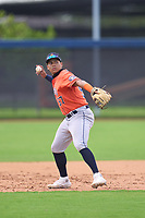 Houston Astros JC Correa (57) throwing during a Minor League Spring Training game against the Washington Nationals on April 27, 2021 at FITTEAM Ballpark of the Palm Beaches in Palm Beach, Fla.  (Mike Janes/Four Seam Images)