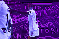 ORLANDO, FL - SEPTEMBER 11: Racing Louisville FC player in the tunnel before a game between Racing Louisville FC and Orlando Pride at Exploria Stadium on September 11, 2021 in Orlando, Florida.